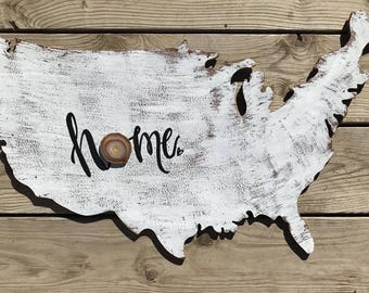 America wood sign with Colorado placed  home agate and hand lettering