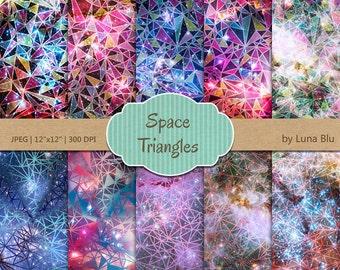 "Geometric Digital Paper Pack: ""Galaxy Background"" triangles digital paper, geometric design, Instant Download"