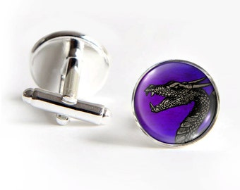 DRAGON Cufflinks silver 18mm cuff links Gifts for him