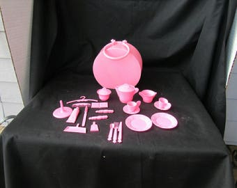 25 Piece Vintage 1970 Pink Plastic Mattel Doll Tea Set For Two and Accessaries  2824