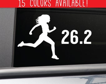 26.2 Marathon Female Runner Vinyl Decal Laptop Car Truck Bumper Window Sticker
