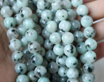 8mm Lotus Jasper Rounds, Speckled Beads, Speckled Gemstone Beads, Sesame Jasper, Black Sport Jasper, Natural Beads, Natural Gemstones,