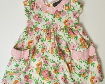 2T Scalloped Collar and Pocket Floral Dress with Diaper Cover