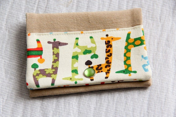 Card holder  - giraffes - orange - blue - green - snap - business cards - credit card - shopping cards - Girafunky