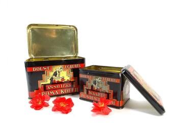 Vintage Tin Box -  Douwe Egberts Tins - Vintage Coffee Tin Box - Old Dutch Tin - Collectible Tin Box - Storage tin box - Old tin box