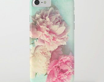 """Floral phone case, pink peonies,iphone, Samsung case, """"like yesterday""""aqua,flower,girly,shabby chic,pastel phone case"""