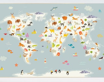 Nursery World Map Animals Animal