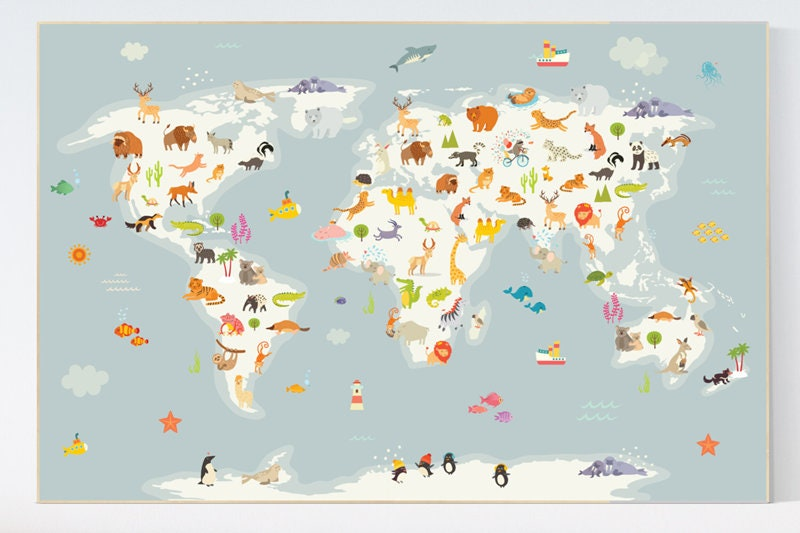 Nursery world map animals map animal map nursery animal world map nursery world map animals map animal map nursery animal world map animal map of the world gender neutral nursery animals of the world gumiabroncs Gallery