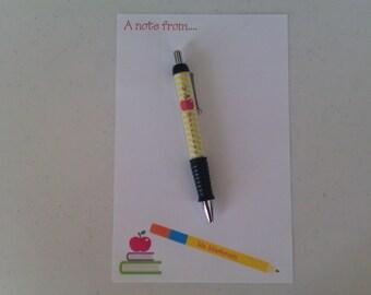 Personalized Teacher notepad and Pen set Teacher notepads teacher pens
