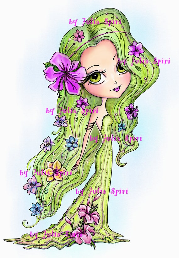 Digital Stamps Digi Stamp Coloring Pages Girl Flower Child Flowers The Garden Dwellers Collection