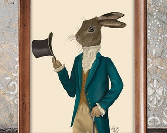 Hare Print - Hare in Turquoise Coat  - Hare picture Hare wall art Hare poster hare art print Rabbit décor Bunny wall décor Rabbit Print