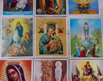 9 Lithographs Catholic Art Prints Mexico GUADALUPE Perpetual Help Mary 8X10 NEW