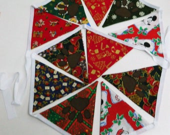 Fabric Garland, fabric Bunting, Fabric backdrop, Christmas garland, Xmas garland, Christmas Banner, Xmas decor, Christmas decoration, party