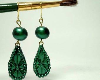 Green Metallic Teardrop Earrings