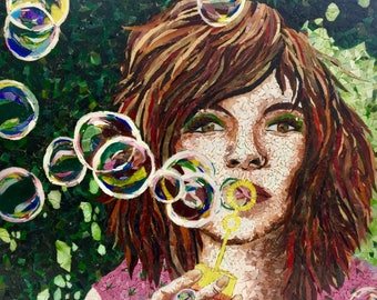 Blowing Bubbles - Beautiful Stained Glass Mosaic