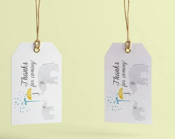 Elephant Thank You Tags Printable, Elephant Baby Shower Decorations, Custom Tags for Baby Shower, Baby Shower Favor Tags Template, Printed