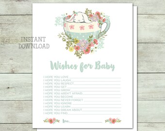 Wishes for Baby, Baby Shower Activity, Baby Shower Game, Baby Shower Invite, Bunny Baby Shower, White Rabbit, Floral, Printable No. IN1014