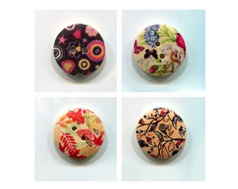 buttons round 2cm * pattern * wood