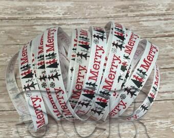 Merry Christmas 3/8 inch USDR Grosgrain Ribbon, Ribbon by the yard, Holiday Ribbon, Silver Foil Print Ribbon, Filler Ribbon