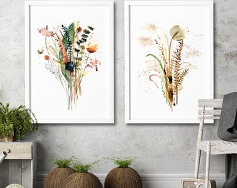 Watercolor painting flowers Botanical wall art Nature floral drawing Set of 2 art prints Rustic Kitchen wall decor Living room decortion