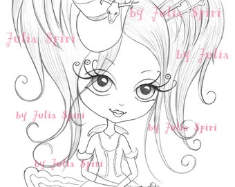 Digital stamps, Vintage Digi, Little girl, Big Eyes, Gothic, Coloring Fantasy. The  Little World of Griselda Collection. Dreams of Griselda