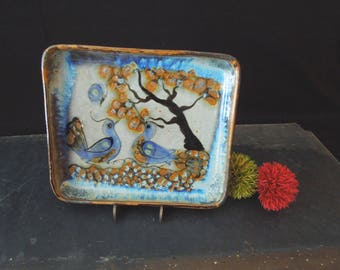 Boho Design Ceramic Dish Plate Dish - Pottery Tray Blue Bird - Trinket Dish Catchall - Bohemian Home decor