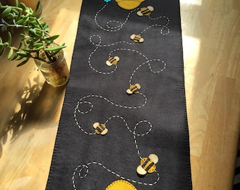 Bee hive and bee table runner measuring 12x36 inches