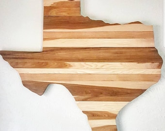 Pecan Wood Texas Wall Art- Texas Art - Rustic Texas Decor - Rustic Home Decor - Texas Art - Texas Shaped Art