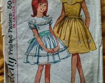 Vintage Dress Sewing Pattern Simplicity #5371 1964 Girl's Size 10