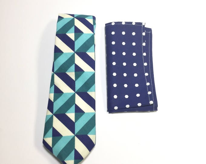 "The ""Fortune Favors Melancholy Blues"" Tie and Square Pack"