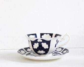 Royal crown derby unfinished old Imari cup and saucer. Fine bone china cup and saucer. Derby porcelain