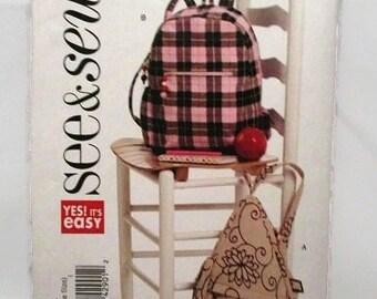 See & Sew 5346 Easy to Sew Backpacks UNCUT