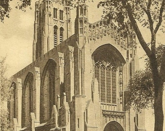 University of Chicago Chapel from the Southwest Vintage Postcard 1937 Chicago Stockyards Station Cancel