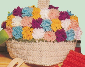 Vintage Knit Flower Basket Tea Cozy Pattern