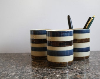 A Set of Three Vintage Striped Whiskey Tumblers