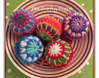 Colourful crochet baubles
