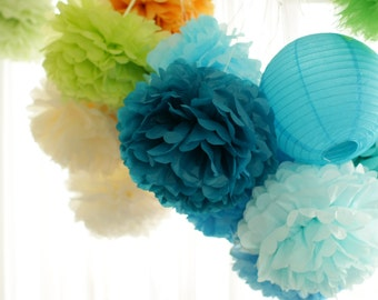 6  Large Tissue paper Pom Poms set - pick your colors- wedding party decorations /Bridal Baby Shower/1st Birthday/nursery decor/