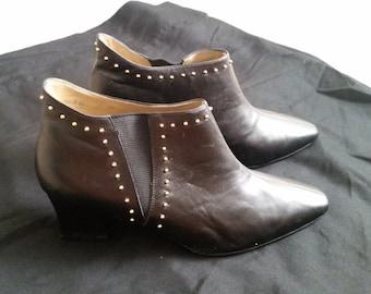 SALE*Vintage 80's Black Leather Studded Short Boots