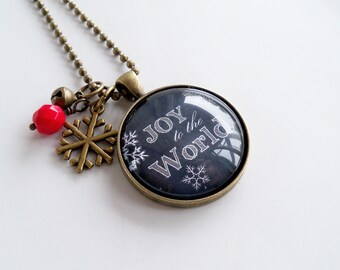 Christmas Necklace - Joy To The World - Christmas Carol - Chalkboard Text Jewelry - Text  Pendant - Word Jewelry - Holiday Gift