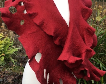 OOAK Wrapped in Christmas Wet-felted Wrap