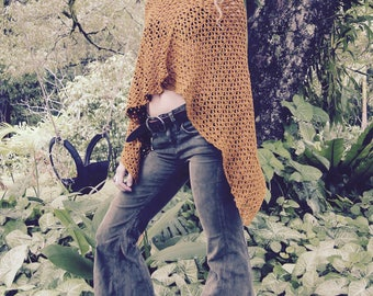 Cotton Crochet Ochre Poncho Cover Up