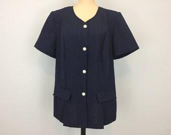 Navy Blue Jacket 80s Short Sleeve Womens Jackets Suit Jacket Collarless Pinstripe Plus Size 18 1X Womens Clothing 1980s Vintage Clothing