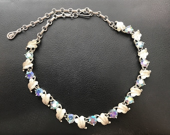 Vintage @cow 80's Crystal Leaves Chocker Necklace