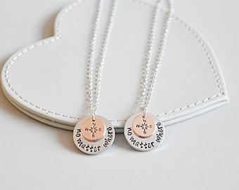 Best friend necklace, no matter where, compass charm, bff necklace, sister, mother daughter, friendship jewelry, friends, quote necklace