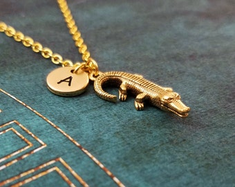 Alligator Necklace Crocodile Necklace Alligator Jewelry Pendant Necklace Charm Necklace Crocodile Jewelry Swamp Gift Animal Necklace Initial