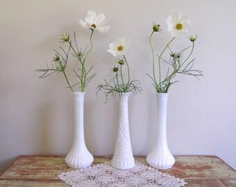 Milk Glass Bud Vases , Set of 3 Tall White Bud Vases , Vintage Wedding Decor , Hoosier Glass Company , Cottage Chic