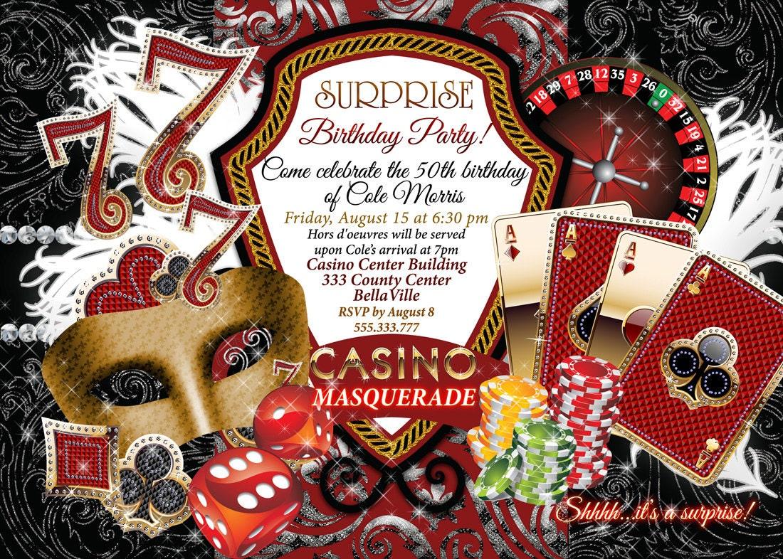 Casino Night Invitations Masquerade Casino Party Casino