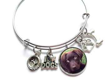 Pet Memorial Jewelry /  Pet Loss Gift / Dog Memorial Bracelet / Pet Loss Photo Gift / Dog Charms Bracelet / Pet Memorial Photo Bracelet