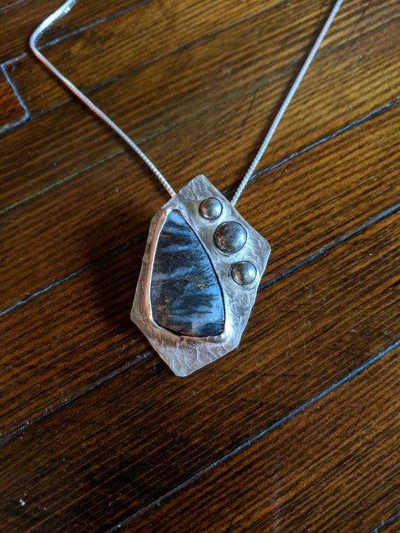 Pyrite and Quartz and sterling silver Necklace