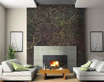 Self-adhesive wallpaper-modern-Multicolor flowers-yellow BUS